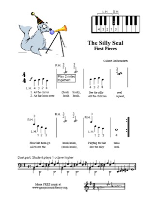 Thumbnail of first page of The Silly Seal piano sheet music PDF by Kids.
