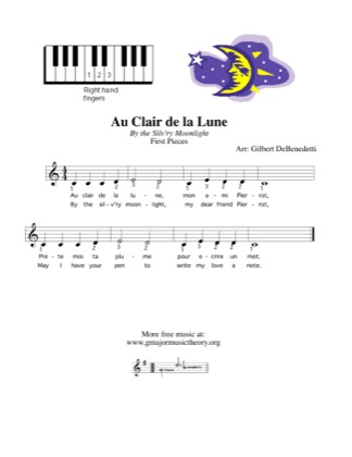 Thumbnail of first page of Au Clair de la Lune piano sheet music PDF by Gilbert DeBenedetti.