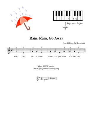 Thumbnail of first page of Rain, Rain, Go Away (Right hand) piano sheet music PDF by Kids.