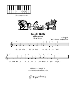 Thumbnail of first page of Jingle Bells (Short Version) piano sheet music PDF by Kids.