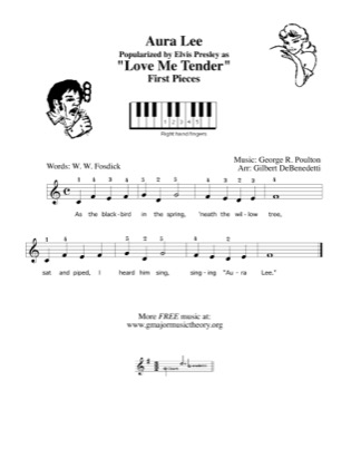 Print and download for free: Aura Lee (Love Me Tender) piano sheet music by Gilbert DeBenedetti.