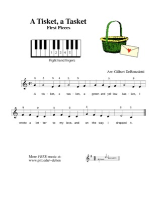 Thumbnail of first page of A Tisket, A Tasket (Right hand only) piano sheet music PDF by Kids.