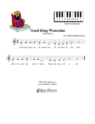 Thumbnail of first page of Good King Wenceslas piano sheet music PDF by Kids.