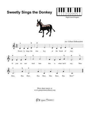 Thumbnail of first page of Sweetly Sings the Donkey (2) piano sheet music PDF by Kids.