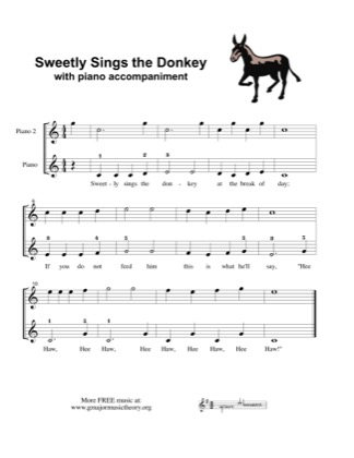 Thumbnail of first page of Sweetly Sings the Donkey (duet) piano sheet music PDF by Kids.