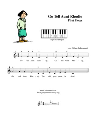 Thumbnail of first page of Go Tell Aunt Rhodie piano sheet music PDF by Kids.