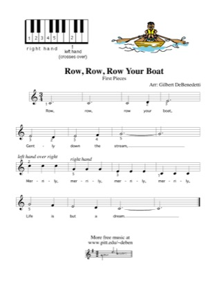 Thumbnail of first page of Row, Row, Row Your Boat piano sheet music PDF by Kids.