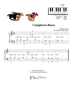 Thumbnail of first page of Camptown Races piano sheet music PDF by Kids.
