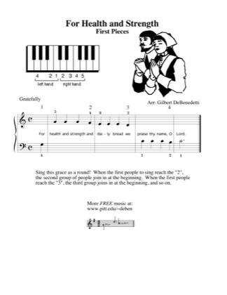 Thumbnail of first page of For Health and Strength piano sheet music PDF by Kids.