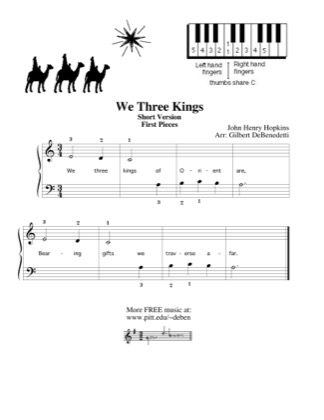 Thumbnail of first page of We Three Kings (Short Version) piano sheet music PDF by Kids.