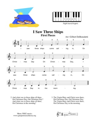 Thumbnail of first page of I Saw Three Ships piano sheet music PDF by Kids.