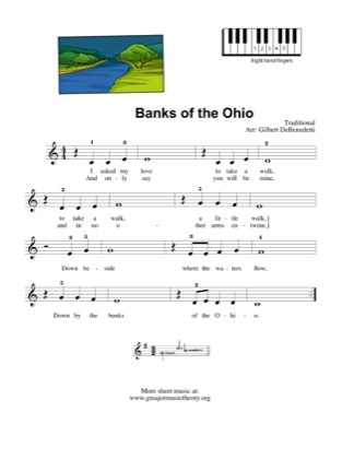 Thumbnail of first page of Banks of the Ohio piano sheet music PDF by Kids.