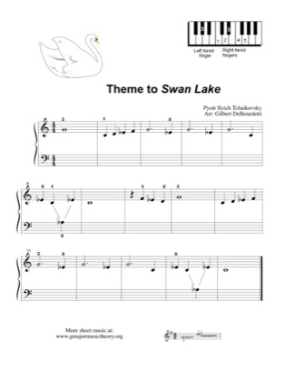 "Thumbnail of first page of Theme to ""Swan Lake"" piano sheet music PDF by Tchaikovsky."