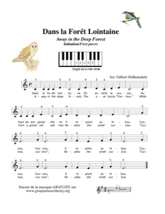 Thumbnail of first page of Dans la Foret Lointaine - Away in the Deep Forest piano sheet music PDF by Kids.