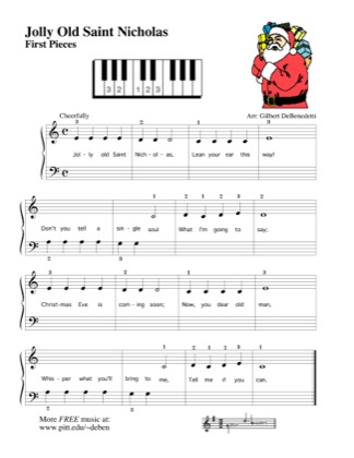 Thumbnail of first page of Jolly Old Saint Nicholas piano sheet music PDF by Kids.