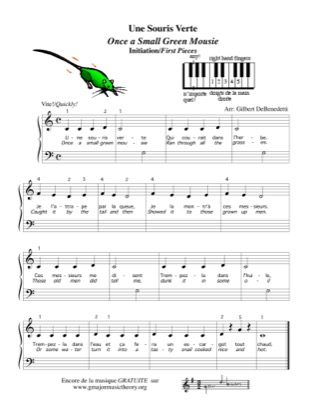 Thumbnail of first page of Une Souris Verte - Once a Small Green Mousie piano sheet music PDF by Kids.