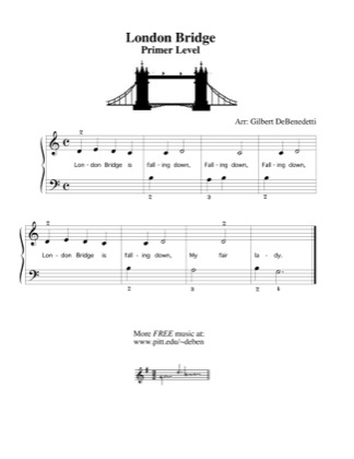 Thumbnail of first page of London Bridge  piano sheet music PDF by Kids.