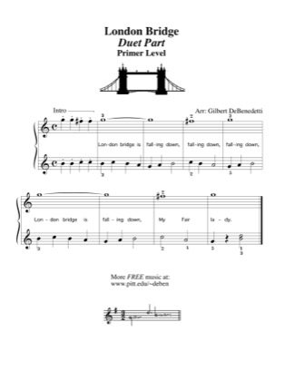 Thumbnail of first page of London Bridge (duet) piano sheet music PDF by Kids.