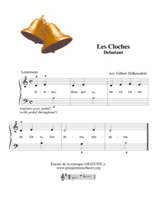 Thumbnail of first page of Les Cloches (The Bells) piano sheet music PDF by Kids.