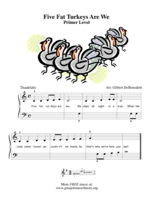Thumbnail of first page of Five Fat Turkeys Are We piano sheet music PDF by Kids.