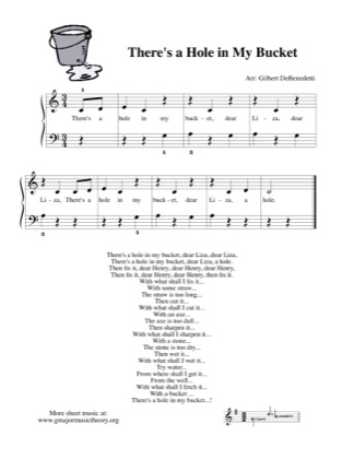 Thumbnail of first page of There's a Hole in My Bucket piano sheet music PDF by Kids.