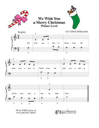 Thumbnail of first page of We Wish You a Merry Christmas piano sheet music PDF by Kids.