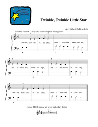 Thumbnail of first page of Twinkle, Twinkle, Little Star piano sheet music PDF by Nursery Rhyme.