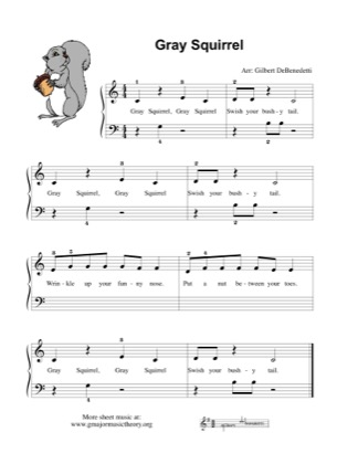 Thumbnail of first page of Gray Squirrel piano sheet music PDF by Kids.