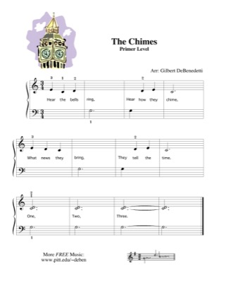 Thumbnail of first page of The Chimes piano sheet music PDF by Kids.