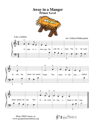 Thumbnail of first page of Away in a Manger (no flats or sharps) piano sheet music PDF by Kids.