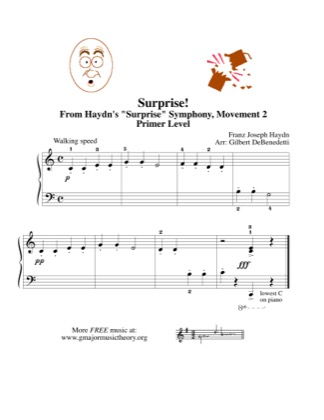 Thumbnail of first page of Surprise! piano sheet music PDF by Kids.