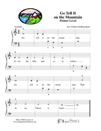 Thumbnail of first page of Go Tell It on the Mountain piano sheet music PDF by Kids.