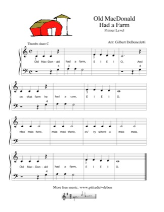 Thumbnail of first page of Old MacDonald piano sheet music PDF by Kids.