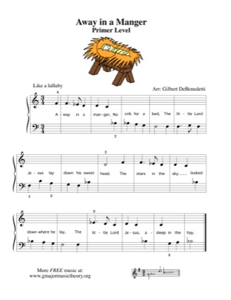 Thumbnail of first page of Away in a Manger (flats) piano sheet music PDF by Kids.
