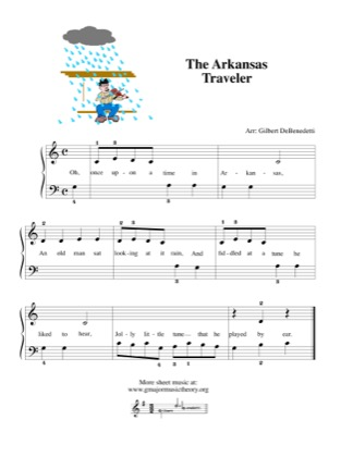 Thumbnail of first page of The Arkansas Traveler piano sheet music PDF by Kids.