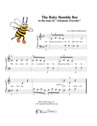 Thumbnail of first page of The Baby Bumble Bee piano sheet music PDF by Kids.