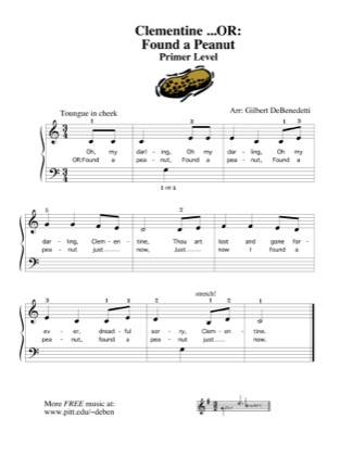 Thumbnail of first page of Clementine (Found a Peanut) piano sheet music PDF by Kids.