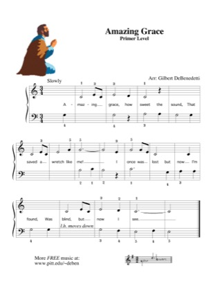 Thumbnail of first page of Amazing Grace (4) piano sheet music PDF by Traditional.