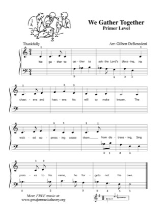 Thumbnail of first page of We Gather Together piano sheet music PDF by Kids.
