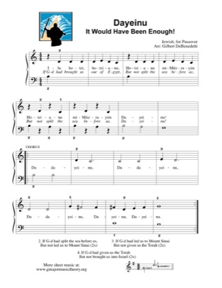 Thumbnail of first page of Dayeinu / It Would Have Been Enough! piano sheet music PDF by Kids.
