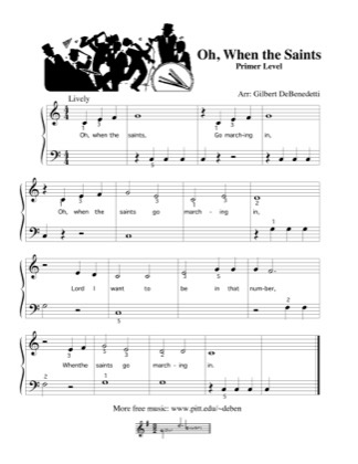 Thumbnail of first page of Oh, When the Saints piano sheet music PDF by Kids.