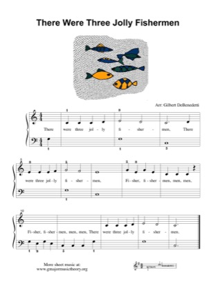 Thumbnail of first page of There Were Three Jolly Fishermen piano sheet music PDF by Kids.