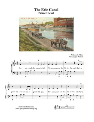 Thumbnail of first page of The Erie Canal piano sheet music PDF by Kids.