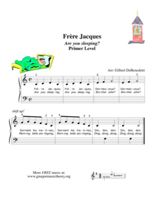 Thumbnail of first page of Frere Jacques / Are You Sleeping? piano sheet music PDF by Kids.
