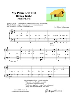 Print and download for free: Bahay Kubo / My Palm Leaf Hut Thank you piano sheet music by Kids.