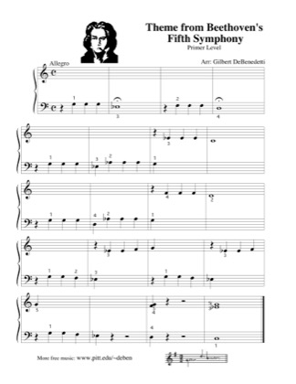 Thumbnail of first page of Theme to Beethoven's Fifth Symphony piano sheet music PDF by Kids.