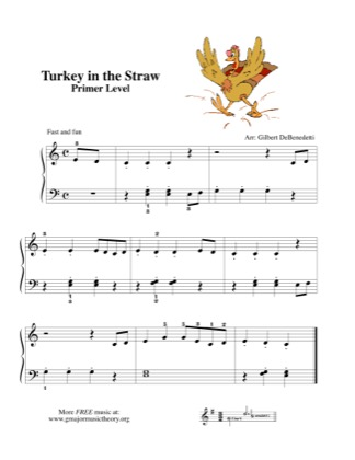 Thumbnail of first page of Turkey in the Straw piano sheet music PDF by Kids.