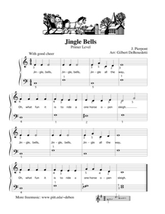 Thumbnail of first page of Jingle Bells (Kids) piano sheet music PDF by Christmas.