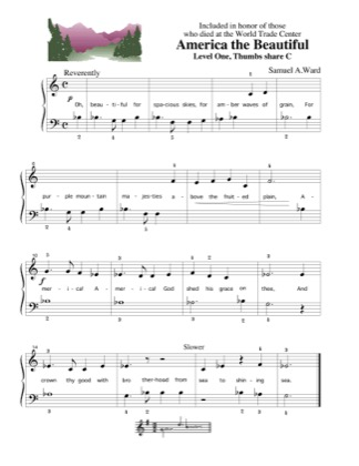 Thumbnail of first page of America, the Beautiful piano sheet music PDF by Kids.