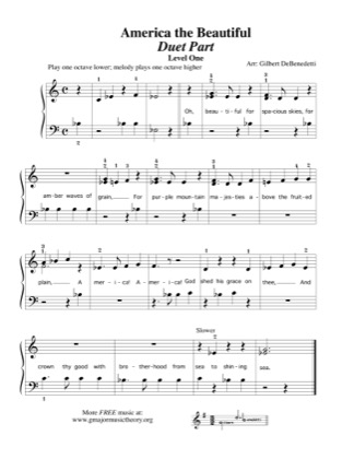 Thumbnail of first page of America, the Beautiful (duet) piano sheet music PDF by Kids.